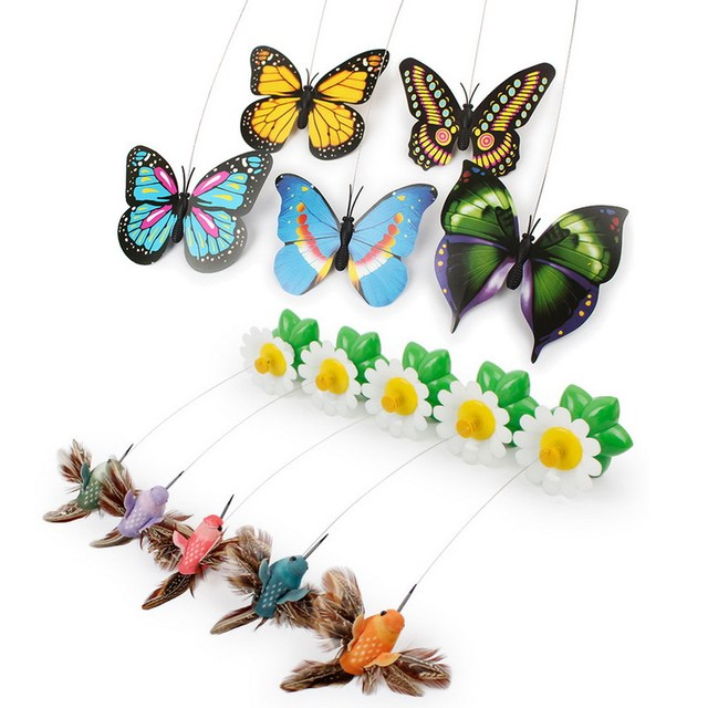 Cat Toys Electric Rotating Colorful Butterfly/Bird Funny Pet Seat Scratch Toy For Cats Dropshipping 8 x 5.5cm