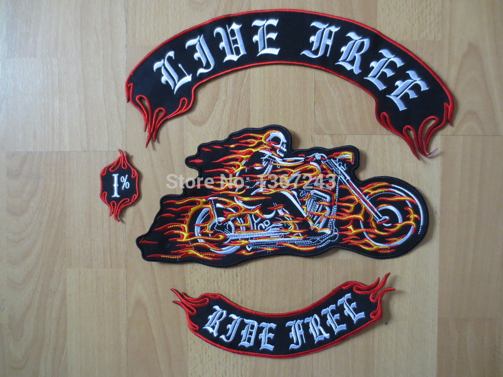 Huge Ride with flame 12 '' inch Parches de bordado grandes para chaqueta Motociclista Biker RIDE FREE