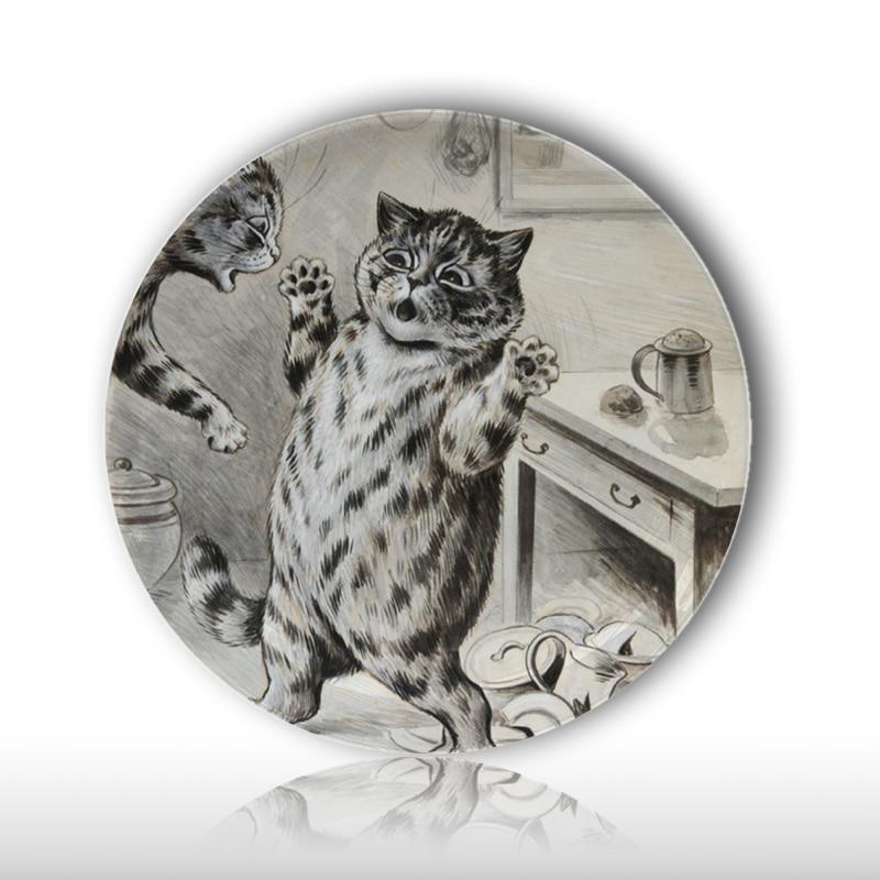 Viktoriánus korszakban az antropomorf macskák dekoratív tányérja, Louis Wain tervezési minta asztali díszítő tányérok, 8 hüvelyk