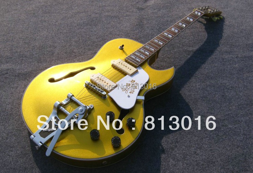 HOT wholesale new style jazz hollow body electric Guitar with chrom hardware accessories gold top color free shipping1 hot electric guitar jazz hollow body guitar black color chrome parts customised headstock shape