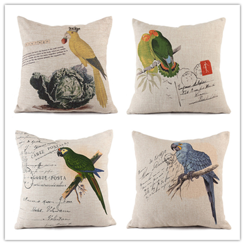 Fashion Western Style Home Decorative Cotton Linen Cushion Cartoon Bird Print Throw Pillowcase Decor Square Fundas