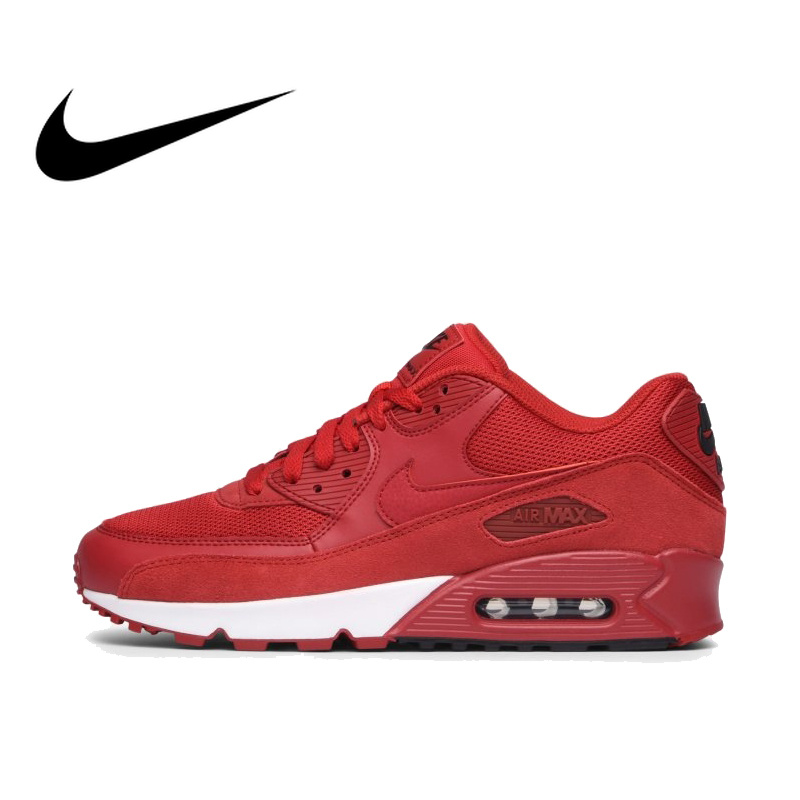 NIKE AIR MAX 90 Original de los Hombres Auténticos es esencial corriendo Zapatos de deporte al aire libre zapatillas de deporte cómodos respirable duraderas 537384