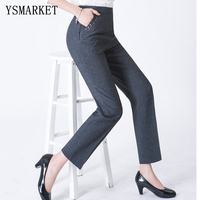 Full Length Professional Business Formal Pants Women Trousers Girls Slim Female Work Wear Office Career Plus