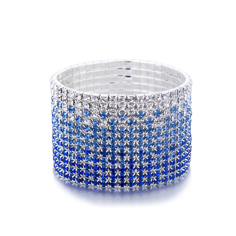 12 Rows Crystal Rhinestone Bangles Bracelet for Women Silver Plated Blue and Clear Crystal Combination Wedding Bracelet (3)