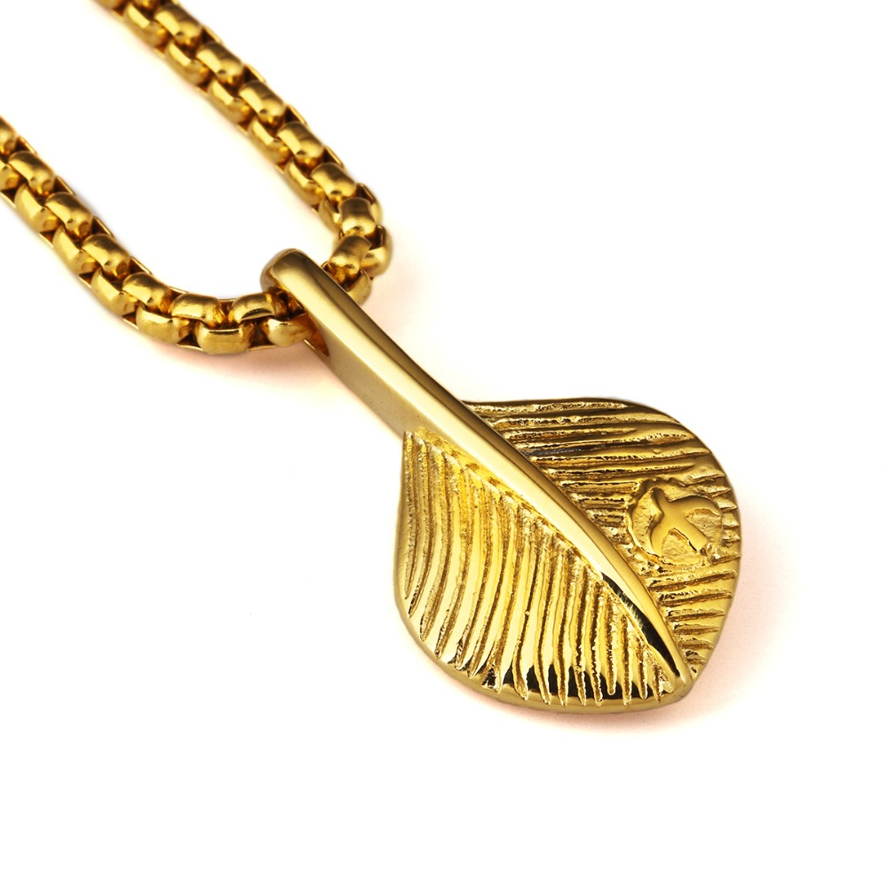 plated feather in men titanuim women goro gold engraved item pendants steel necklaces bling chains eagle pendant from s jewelry gifts takahashi