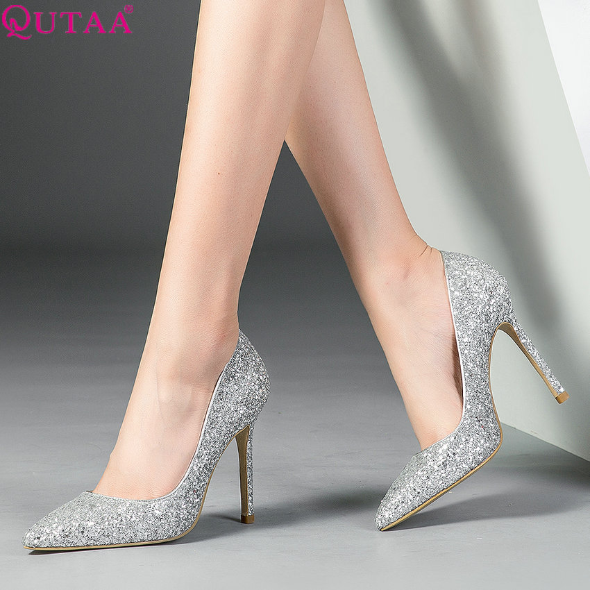 QUTAA 2019 Women Pumps Thin High Heel Pointed Toe Fashion Women Shoes Slip on Party Style All Match Ladies Pumps Size 34-39QUTAA 2019 Women Pumps Thin High Heel Pointed Toe Fashion Women Shoes Slip on Party Style All Match Ladies Pumps Size 34-39
