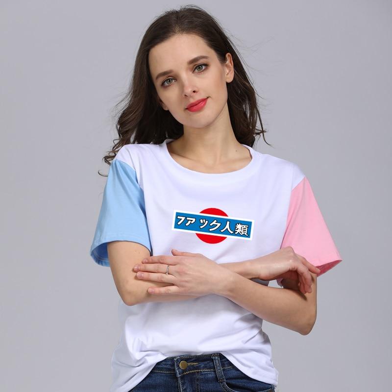 2018 Summer Harajuku Short Sleeves Japanese Woman Raglan Sleeve Letter Print T-shirt Female Clothes Womens t shirt