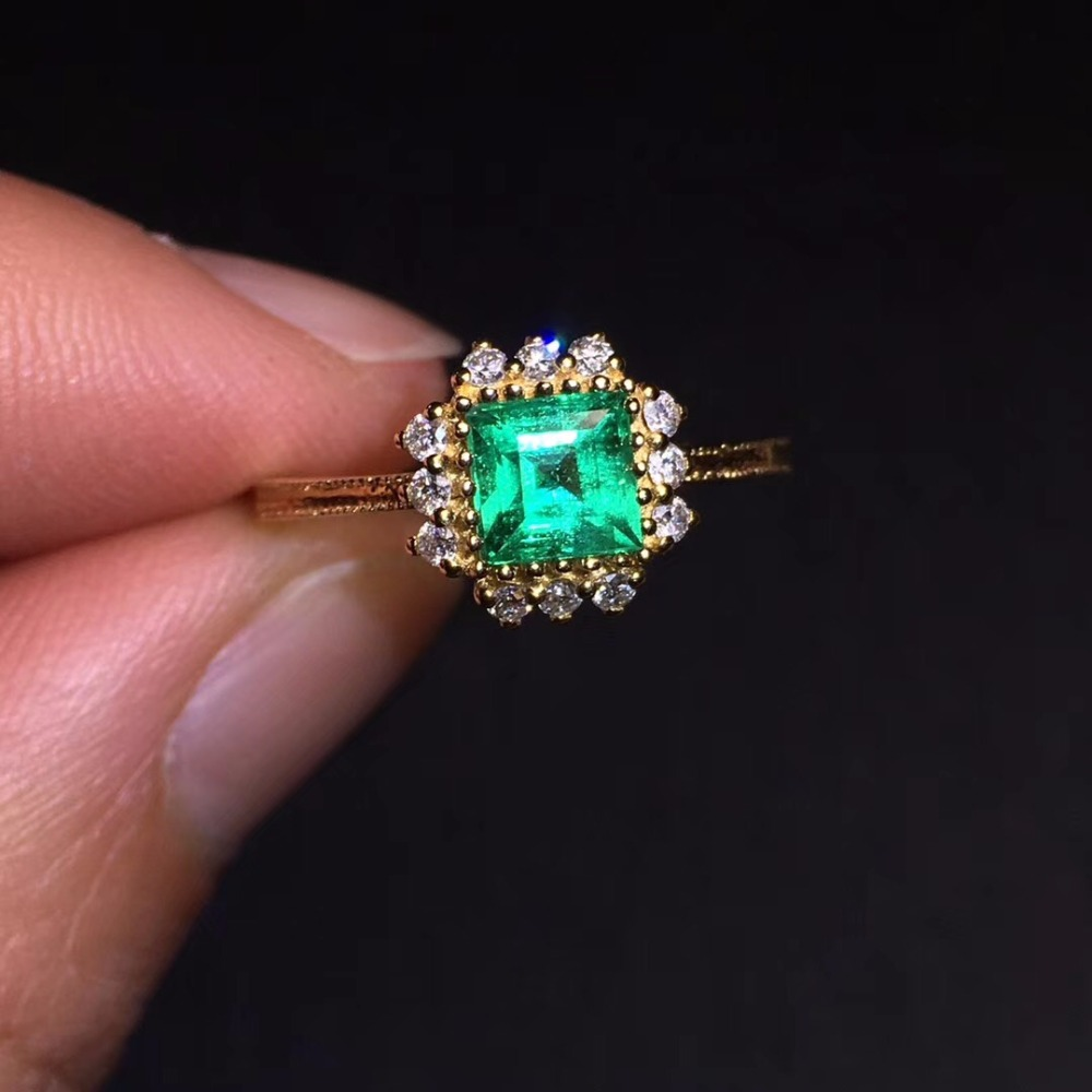 CQT Fine Jewelry G18k Rings Real Diamonds 18K Gold Natural Emerald 0 85ct Gemstones Female Wedding Rings for women Fine Ring in Rings from Jewelry Accessories