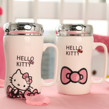 360 ML Mode Kreative Cartoon Hallo Kitty Tasse, KT Katze Keramik büro Tasse Mit Einem Deckel Tasse Tee trinkbecher tazas
