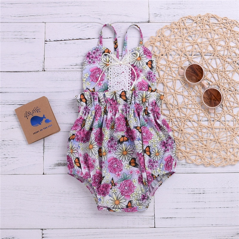 0 2Y Baby Girls Summer Floral Sleeveless Jumpsuit Cute Sling Bodysuit Outfit in Bodysuits from Mother Kids