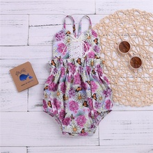 0-2Y Baby Girls Summer Floral Sleeveless Jumpsuit Cute Sling Bodysuit Outfit