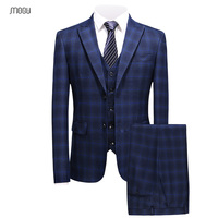 MOGU классический плед Ман Костюмы Vogue из трех частей Slim Fit смокинг костюмы костюм Homme брак 2018 пальто в клетку штаны masculino