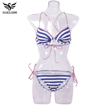 NAKIAEOI 2018 Sexy Bandage Bikini Push Up Swimwear Women Brazilian Bikini Set Bathing Suit Underwire Swimsuit Summer Swim Wear 4