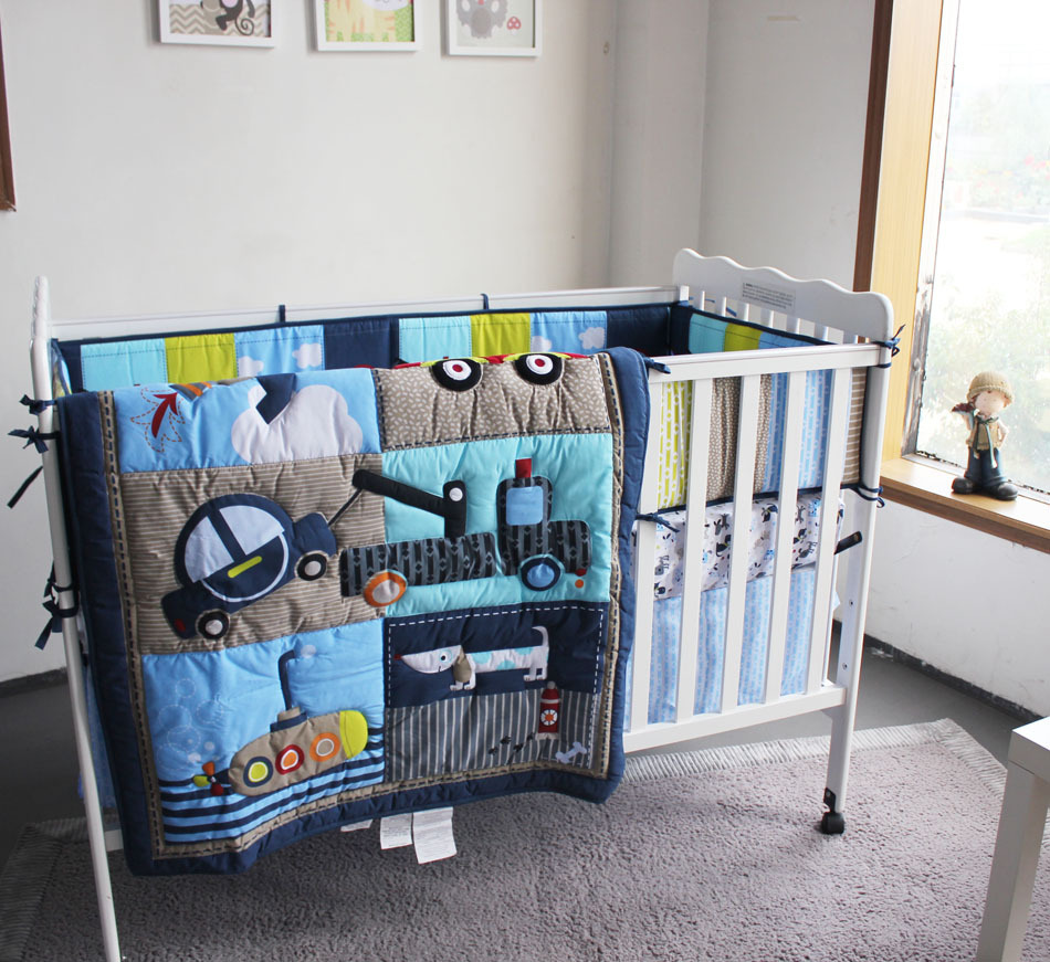 Baby bed online shopping - Muslin Bear Blue Boy Crib 100 Cotton Bedding Embroidery Dogs Cars House Bedding 4pcs Quilt