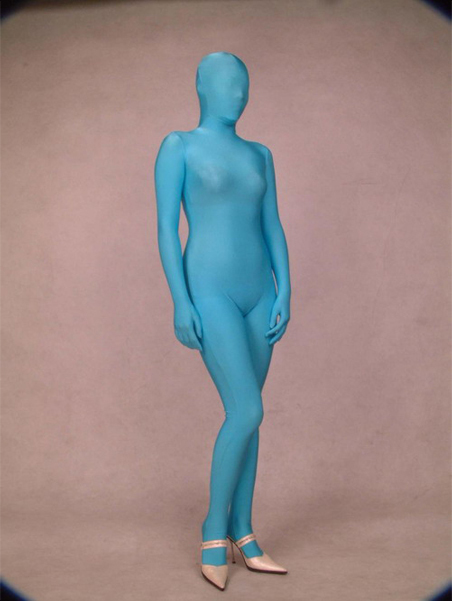 Hot Selling Lycra Spandex Unicolor Blue Cosplay Zentai Full Body Suit Free Shipping