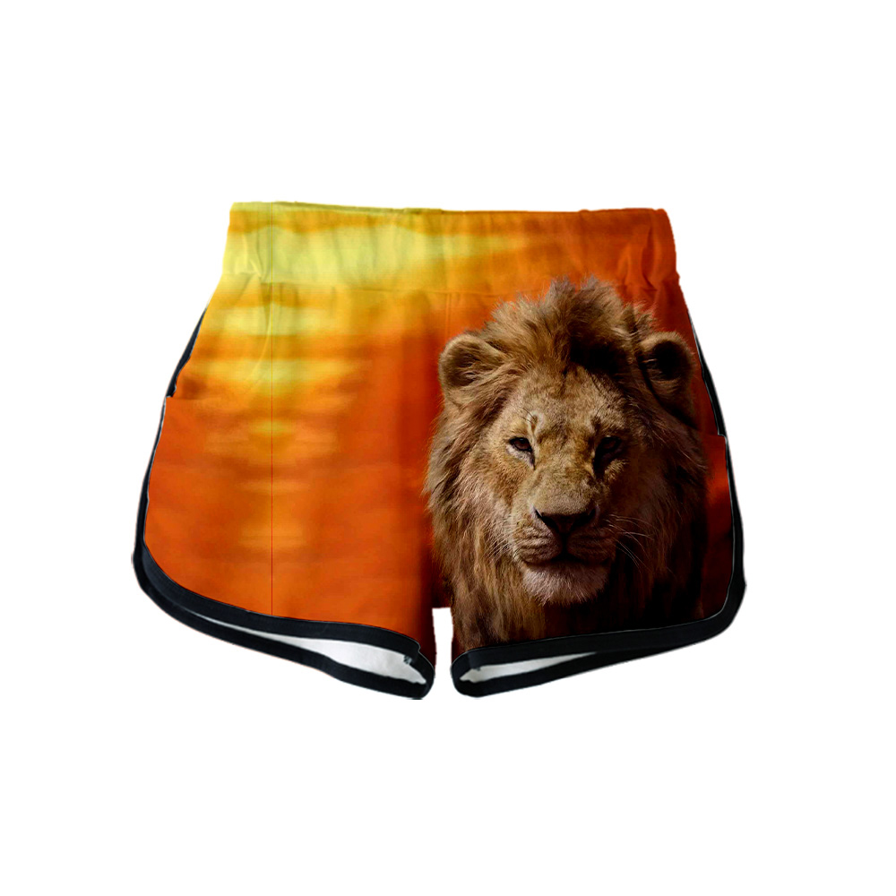 2019 NEW Film glory kingdom King The Lion King Simba 3D Summer Women Casual Harajuku Cute <font><b>girl</b></font> <font><b>Hot</b></font> Sale <font><b>Sexy</b></font> Shorts <font><b>XXL</b></font> image