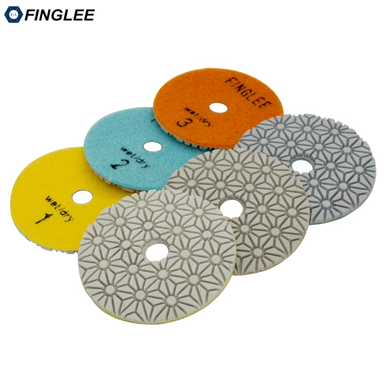 FINGLEE 4 inch/100 mm 3 Step Diamond Dry Polishing Pad Diamond Resin discs for Granite Marble Quartz цена