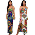 2017 Summer Sexy Maxi Dress Robe Dashiki Backless Sleeveless Bandage Split Long Bodycon Dresses Vintage African Print Dresses