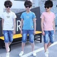 5 14 lat chłopcy odzież zestaw strojów sportowych 2018 letnia moda na co dzień z krótkim rękawem odzież dziecięca T Shirt + dżinsy zestaw
