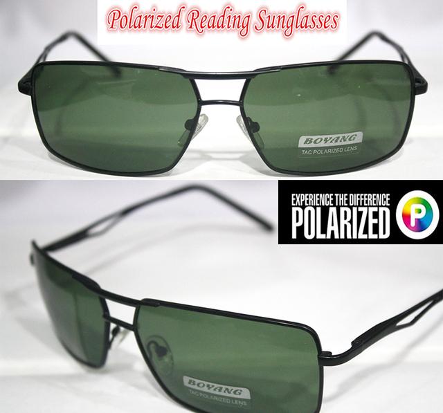 !! Polarized óculos de leitura!! Moldura preta Lente Verde feixe duplo reforçada polarizada homens óculos de sol + 1.0 + 1.5 + 2.0 + 2.5 a + 4