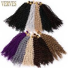VERVES-extensiones de cabello trenzado de fibra de alta temperatura, pelo sintético rizado de ganchillo, 14 pulgadas, 100g/Ud.