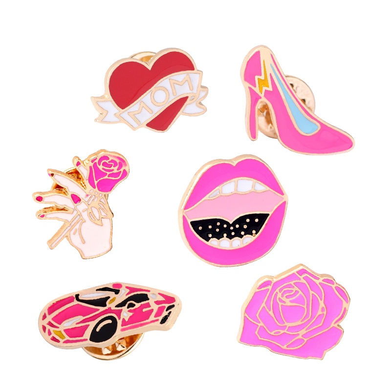 DoreenBeads Fashion Romantic Cartoon Badges High Heel Brooches Pins Button on Decoration for Clothes Bags Jeans 1PC
