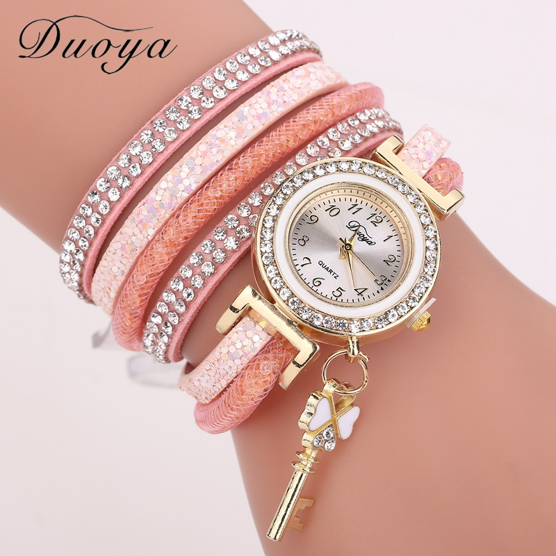 Duoya Brand Women Bracelet Watch Fashion Luxury Gold Key Pendant Crystal Dress Quartz Watch Casual Watches For Girl Gift DY153