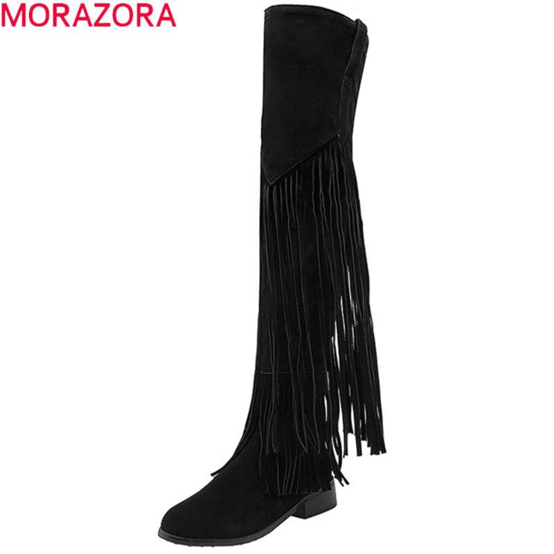MORAZORA 2020 nouveau au-dessus du genou cuissardes bottes femmes troupeau gland chaussures sexy slim longues bottes automne hiver moto bottes