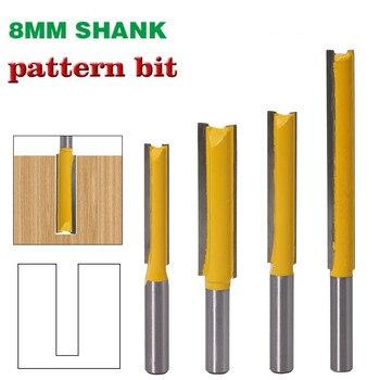 1 pieza 8mm vástago recto/Dado broca de enrutador de madera carburo de tungsteno fresas rectas largas herramientas de carpintería broca