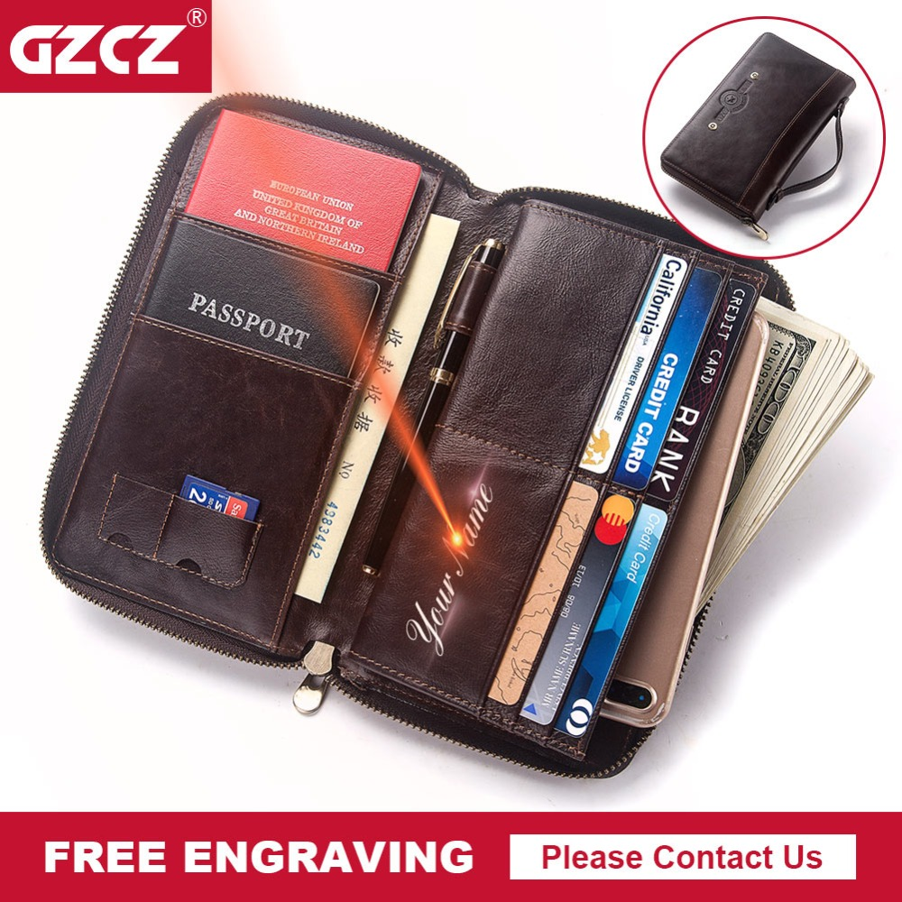 RFID Mens Genuine Leather Card Holder Business Retro Long Zipper Phone Organizer