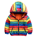 2017 new spring autumn both sides wear colored stripes children outerwear kids jackets hooded boys and girls clothes 2-10T