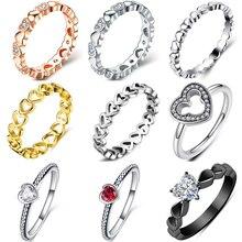CUTEECO модное розовое Золотое свадебное кольцо в форме сердца для женщин, циркониевые обручальные кольца, Гламурные ювелирные изделия Anillos Mujer