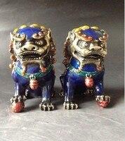 TNUKK A Pair Chinese Cloisonne Copper Statue Lion Foo Dog