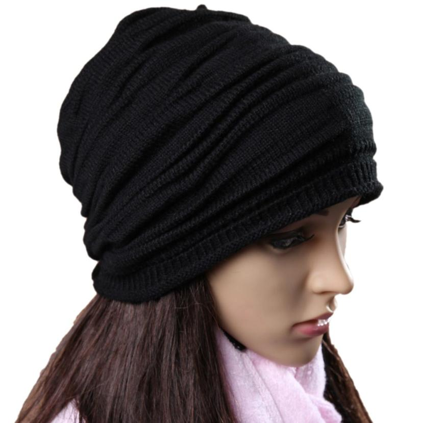 snowshine4 #4522 Unisex Men Women Winter Hat Baggy Beanie Knit Crochet Ski Slouch Cap hot sale unisex winter plicate baggy beanie knit crochet ski hat cap