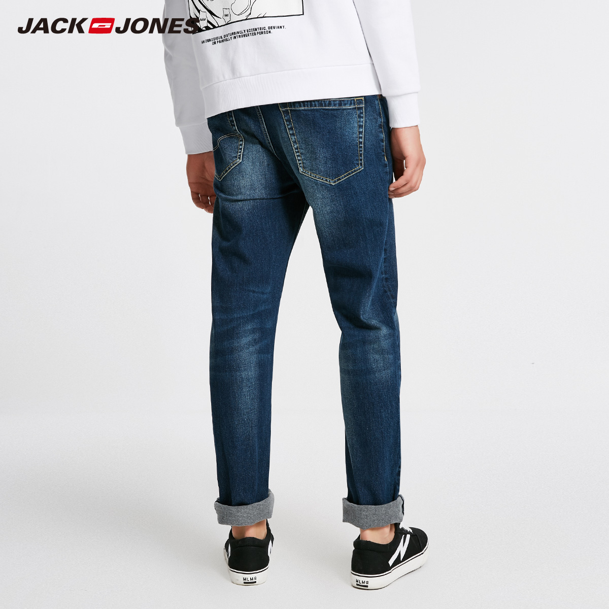 Image 3 - Jack Jones Men Jeans Brand Thick Warm Cotton Solid Straight Jeans Denim Trousers Mens Biker Jeans  218432505-in Jeans from Men's Clothing