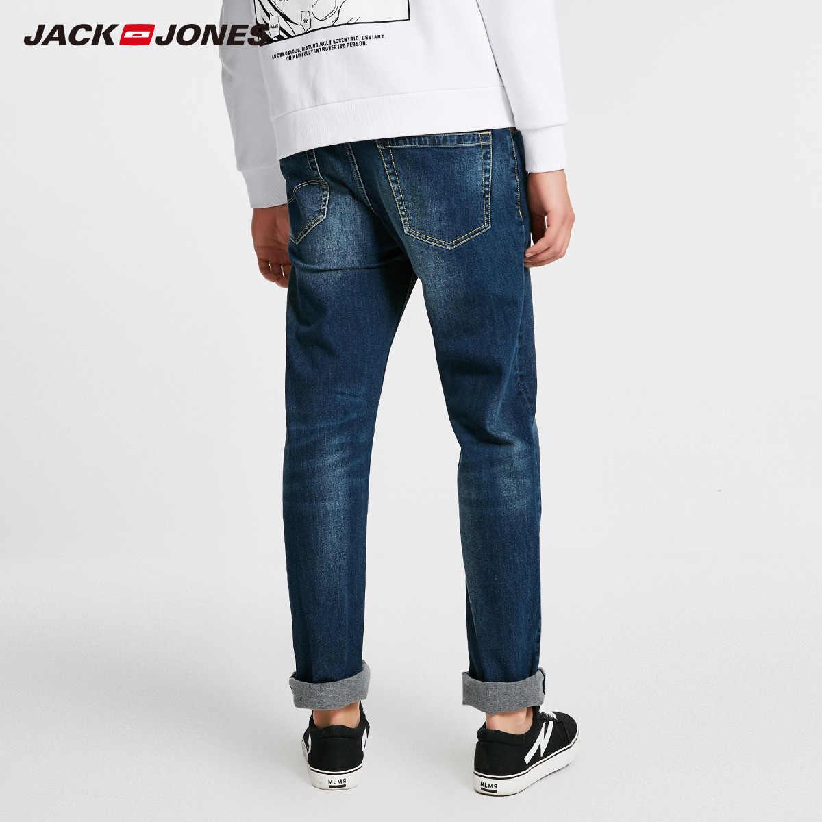 Jack Jones męskie ciepłe bawełniane solidne proste spodnie jeansowe jeansy dla motocyklistów | 218432505