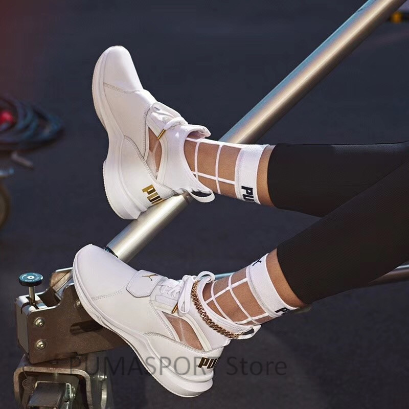 2018 New Original Selena Gomez X Puma Phenom Lux Women's White Sneakers Suede Satin Badminton Shoes size355-40