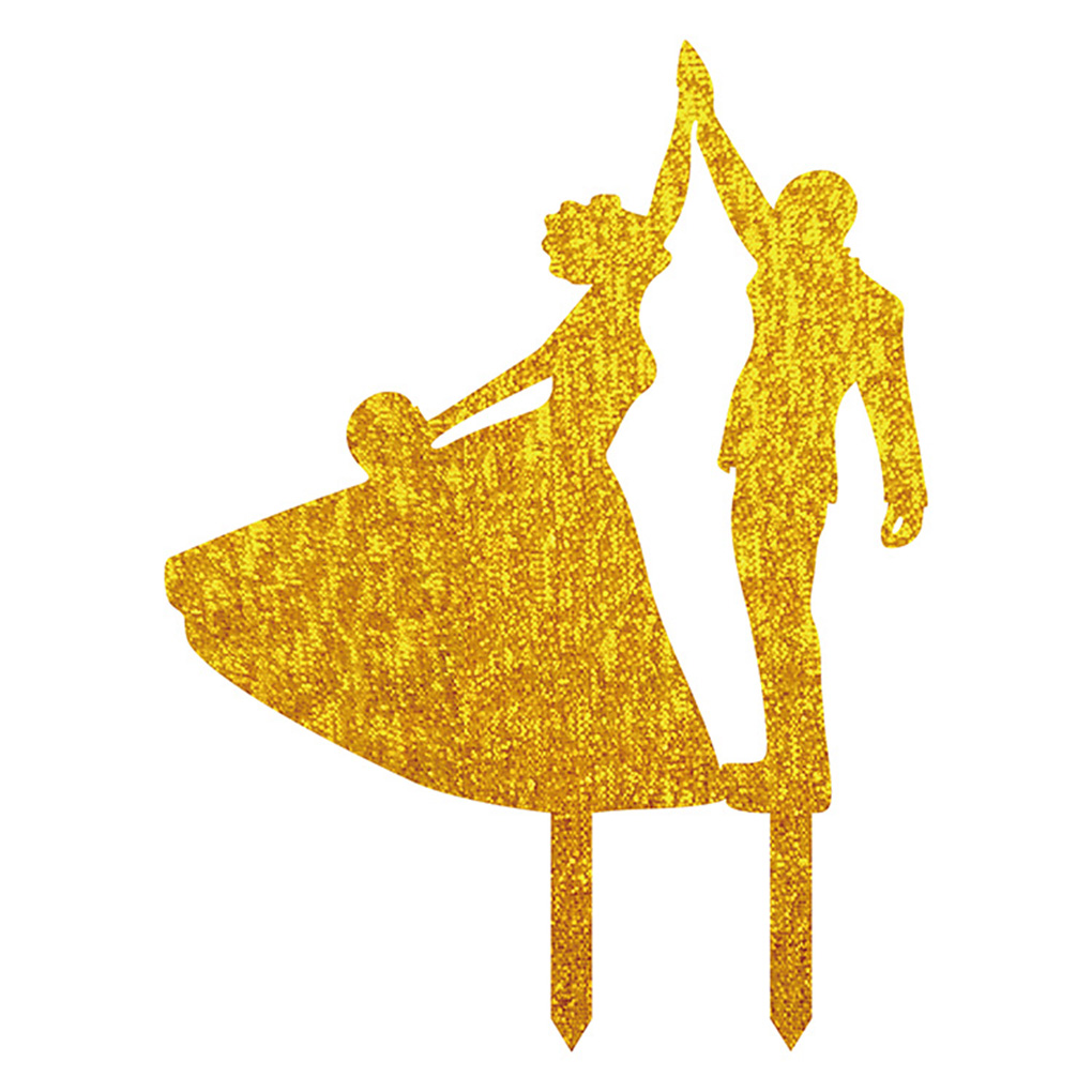 Dancing Bride and Groom High Five Silhouette Wedding Birthday Party Cake Topper Stand Decor
