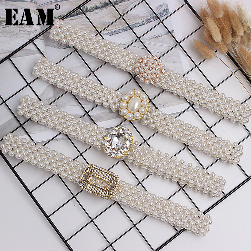 [EAM] 2019 New Autumn Winter Pearl Split Joint Square Temperament Personality Long Belt Women Fashion Tide All-match JR893