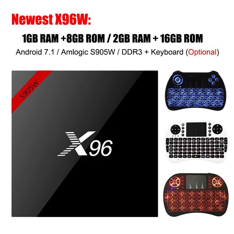 X96 X96W TV Box Android 7.1 Smart Box Amlogic S905W CPU 1G/8G 2G/16G 2,4 GHz WiFi HD 4 Karat DDR3 H.265 HDMI Set top box Media player