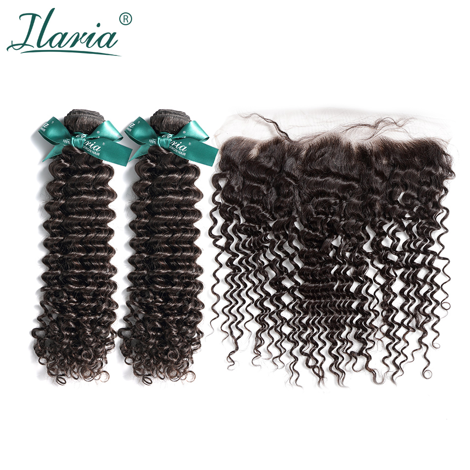 ILARIA HAIR Peruvian Curly Human Hair Bundles With Closure Deep Wave 100% Remy Hair 2 Bundles With 13*4 Lace Frontal Closure