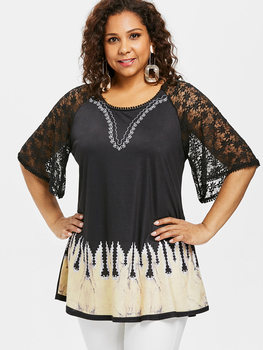 AZULINA Plus Size Ethnic Print Lace Long Tee Women T-Shirt Summer Casual O Neck Raglan Sleeve T Shirt Big Size Ladies Tops Tees 1