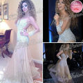 Arabia Singer Myriam Fares Dress Round neck Long Sleeves With Beaded A line Floor length Sexy Custome Tulle Celebrity Dresses