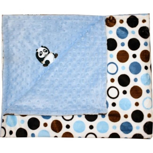 Lil Cub Hub 3BPBBCB-M Panda Minky Blanket - Blue & Brown Circle Print with Blue Dot