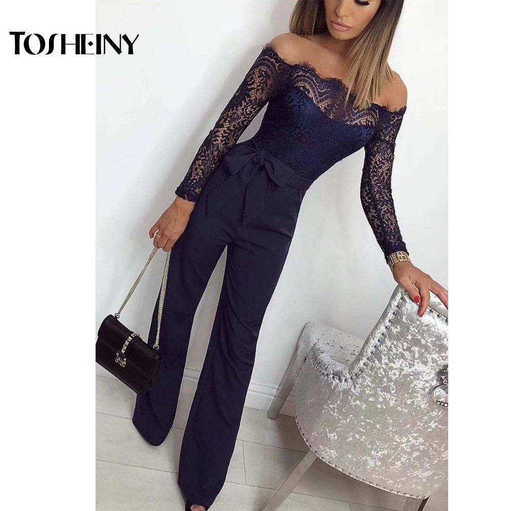 Tosheiny 2019 Women Sexy Off Shoulder Lace Backless Long Sleeve Playsuit Elegant Solid Color Jumpsuit TH9528