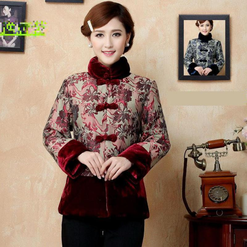 Mandarin Collar Cotton Padded Jacket Winter New Women Printed Improved Coat Velvet Thick Tang Clothing Plus