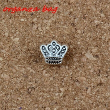 Wholesale 50pcs / Lot Crown Big Hole Spacers Charms Beads Antique silver Alloy DIY For Jewelry Making bracelet 10 * 11mm F-2