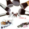 11Pcs Set Makeup Brushes Cosmetics Tools Bamboo Handle Eyeshadow Lipsticks Face Cosmetic Makeup Brush Blush Soft Brushes Kit NEW