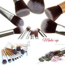 11Pcs Set Makeup Brushes Cosmetics Tools Bamboo Handle Eyeshadow Lipsticks Face Cosmetic Makeup Brush Blush Soft Brushes Kit NEW