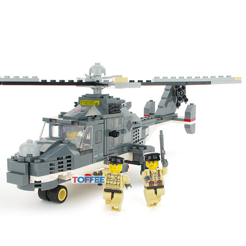 297pcs Military Anti-terrorism Helicopter Blocks Boys DIY Gifts Enlighten Building Bricks Figures Toy for Children K0312-29043 terrorism before the letter